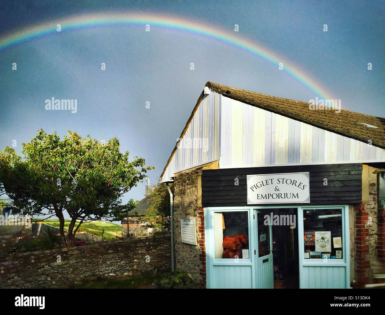 The shop at the end of the rainbow, East Prawle, Devon Stock Photo