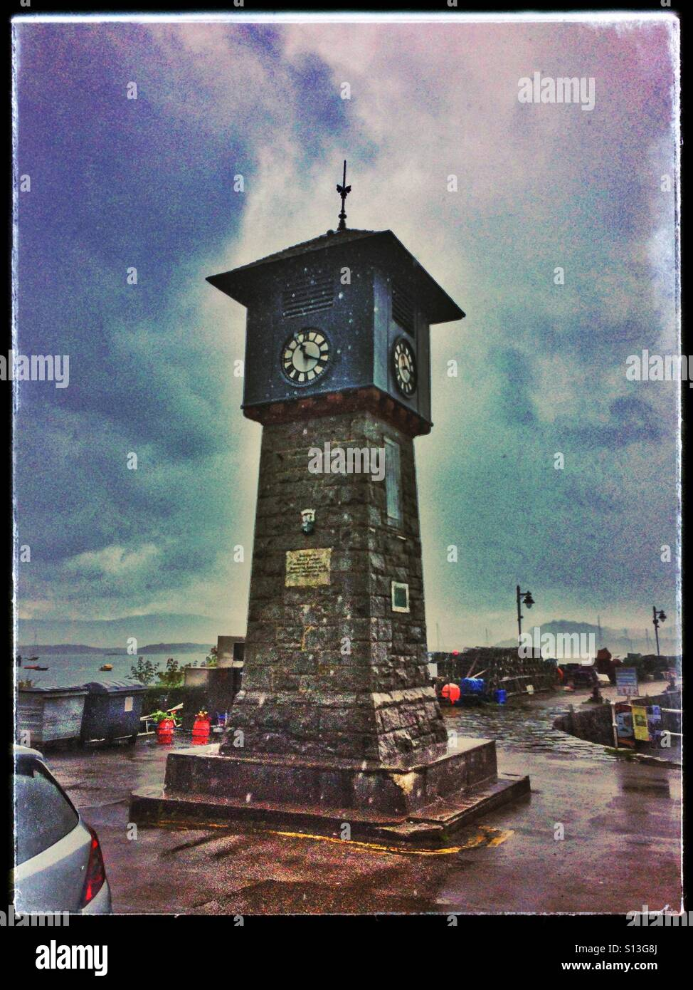 Tobermory Clock Tower on a grey cloudy day Stock Photo