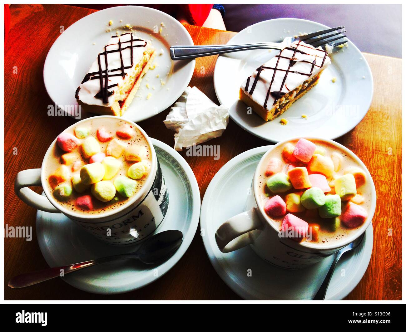 2 Coffees 2 cakes Stock Photo