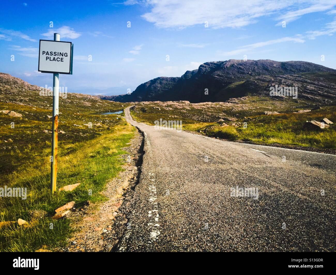 Passing place on single track road on Applecross peninsula on West Coast of Scotland, UK - Stock Image