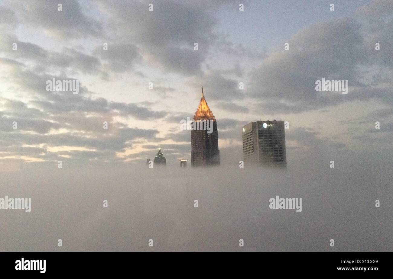 Atlanta through the clouds - Stock Image