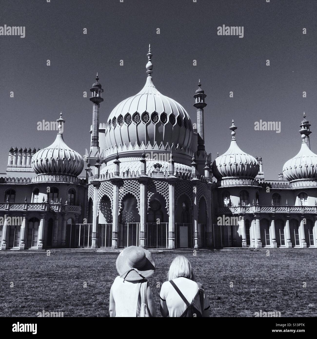 Tourists at the Royal Pavillion in Brighton Sussex England UK - Stock Image