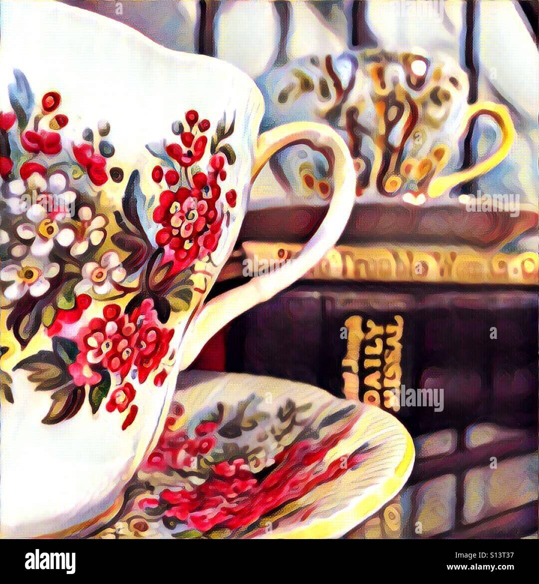 A Digital Painting Of Two Pretty Floral Teacups Atop Some Books