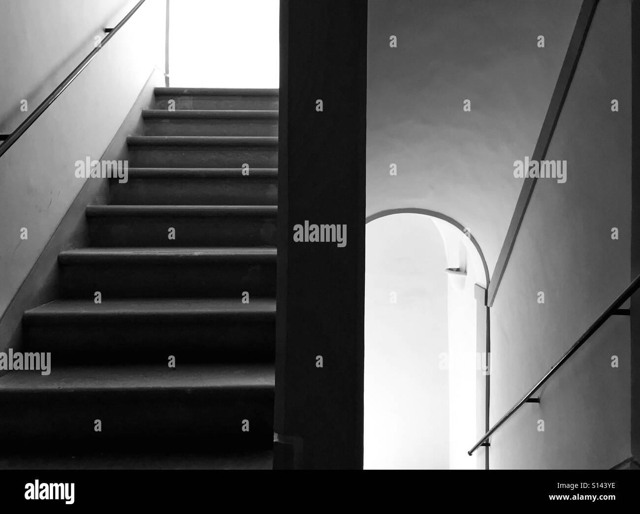 Ascending stairways in Black and white - Stock Image