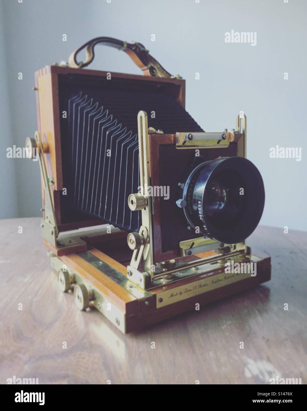 Large format camera on a desk - Stock Image