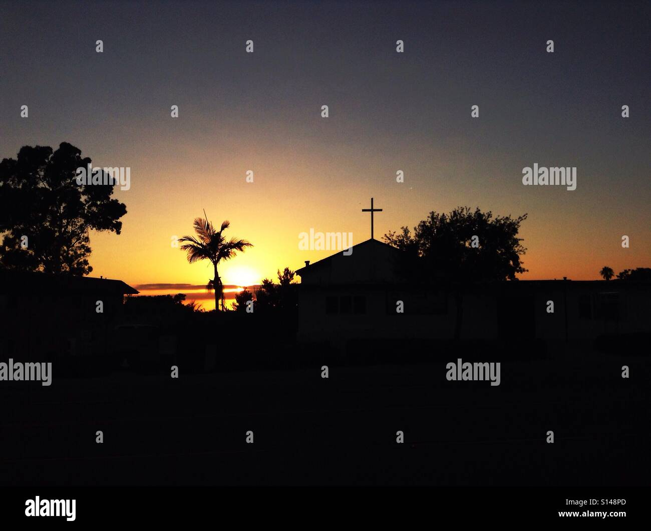 Sunset, Church Sillouette - Stock Image