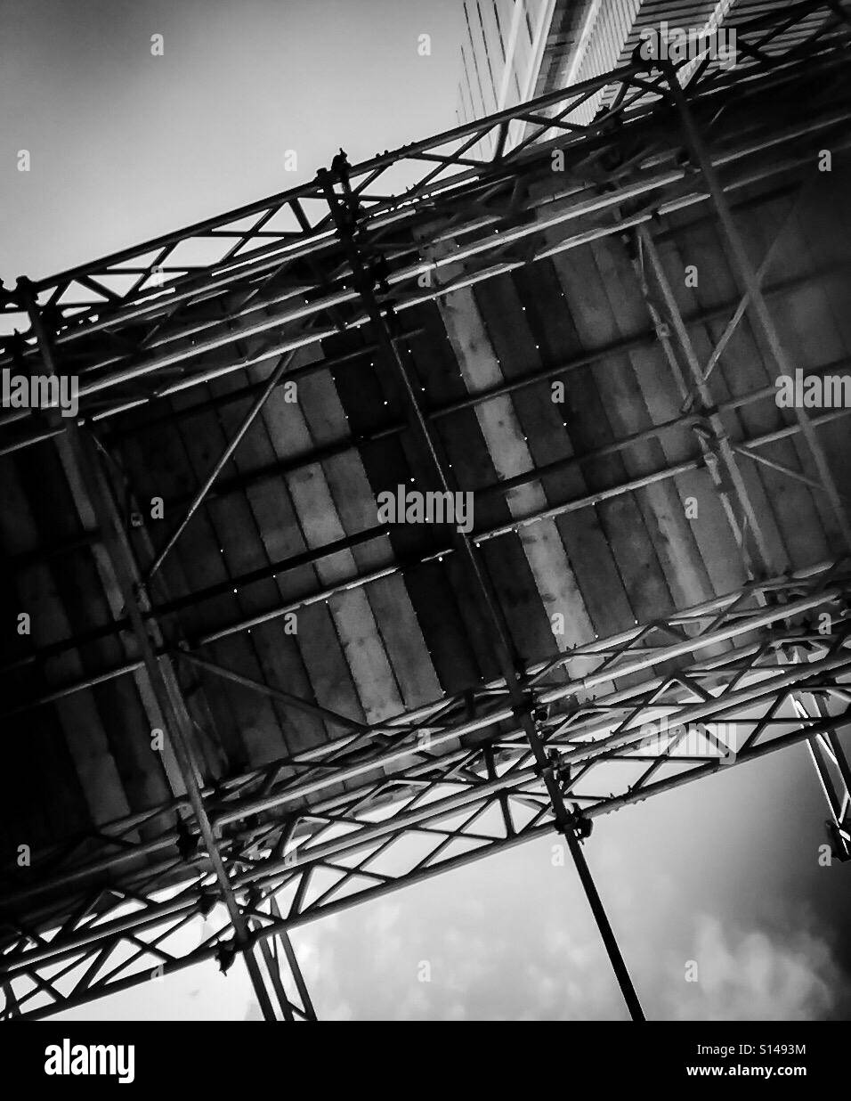 Scaffolding , black and white - Stock Image