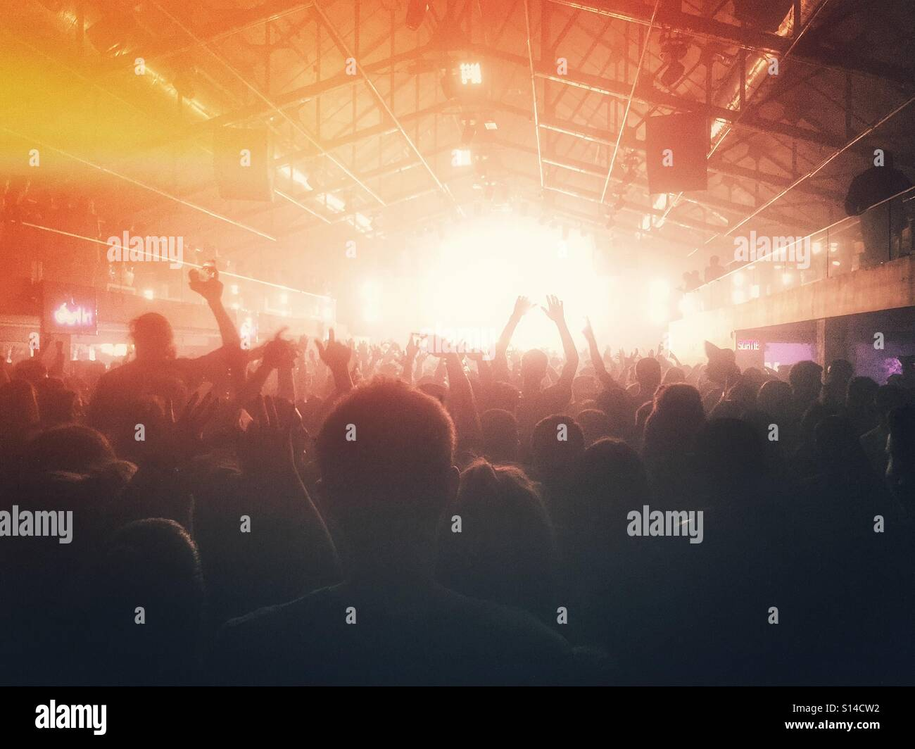 Electronic music crowd - Stock Image
