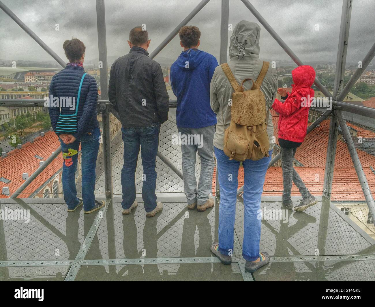 Tourists on the top of tower, Cité du design Saint-Etienne France - Stock Image