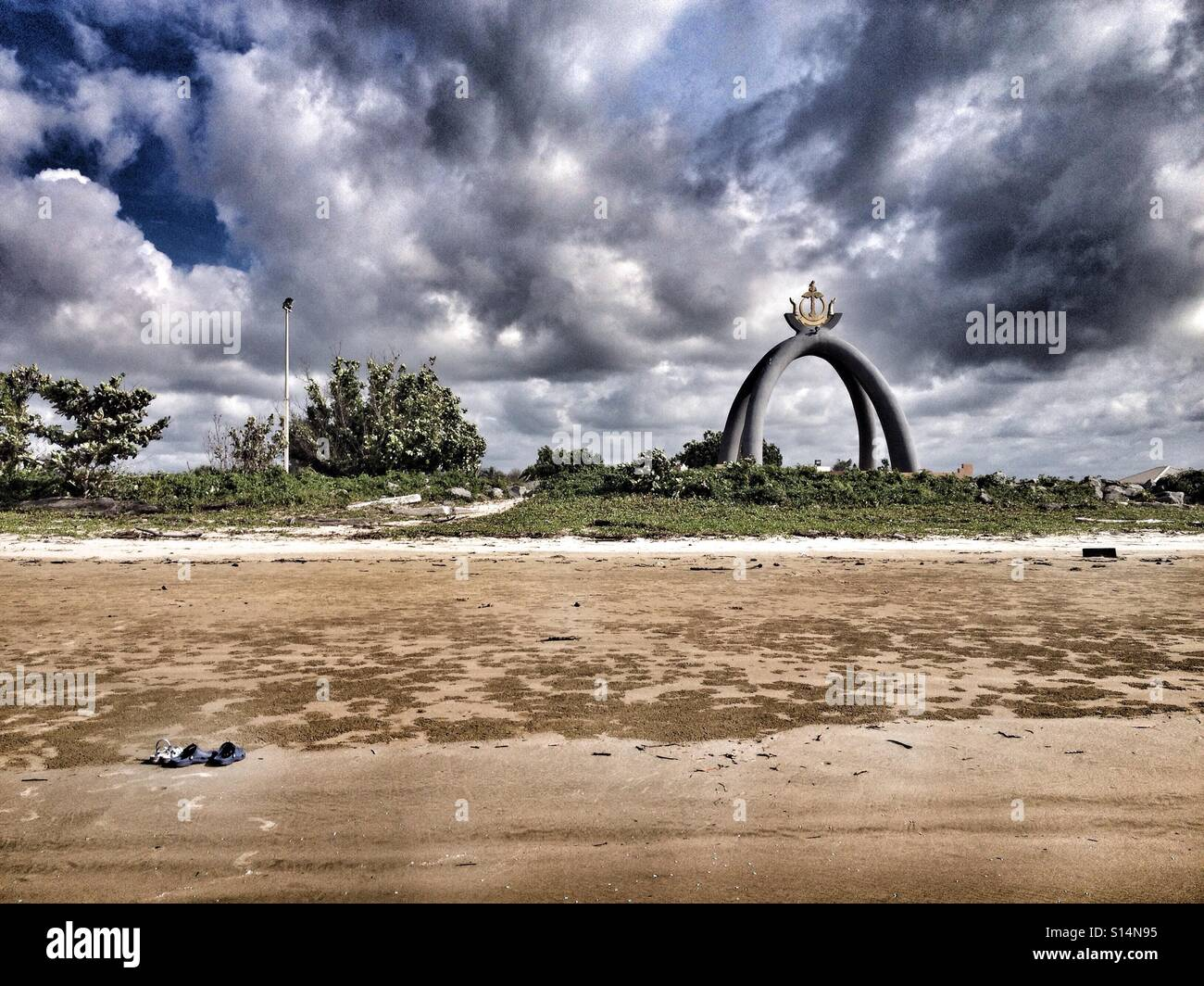 Sandy Beach Next To The Billionth Barrel Monument In The Kingdom Of Brunei Darussalam, On Borneo Island - Stock Image