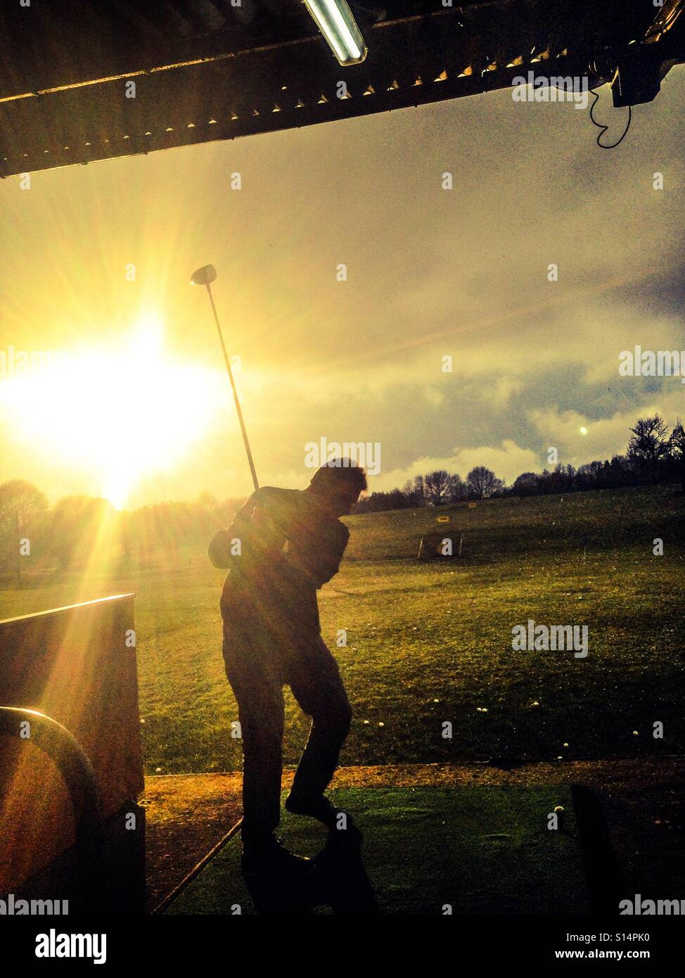 Driving range afternoon - Stock Image
