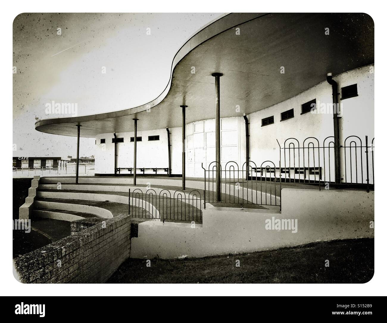 Art Deco style curvy building beside an open air pool Stock Photo ...