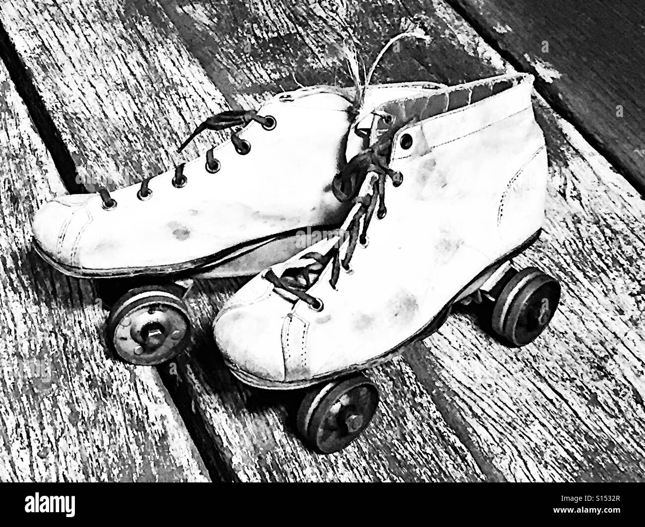 2 pair sidewalk skates from the fifties