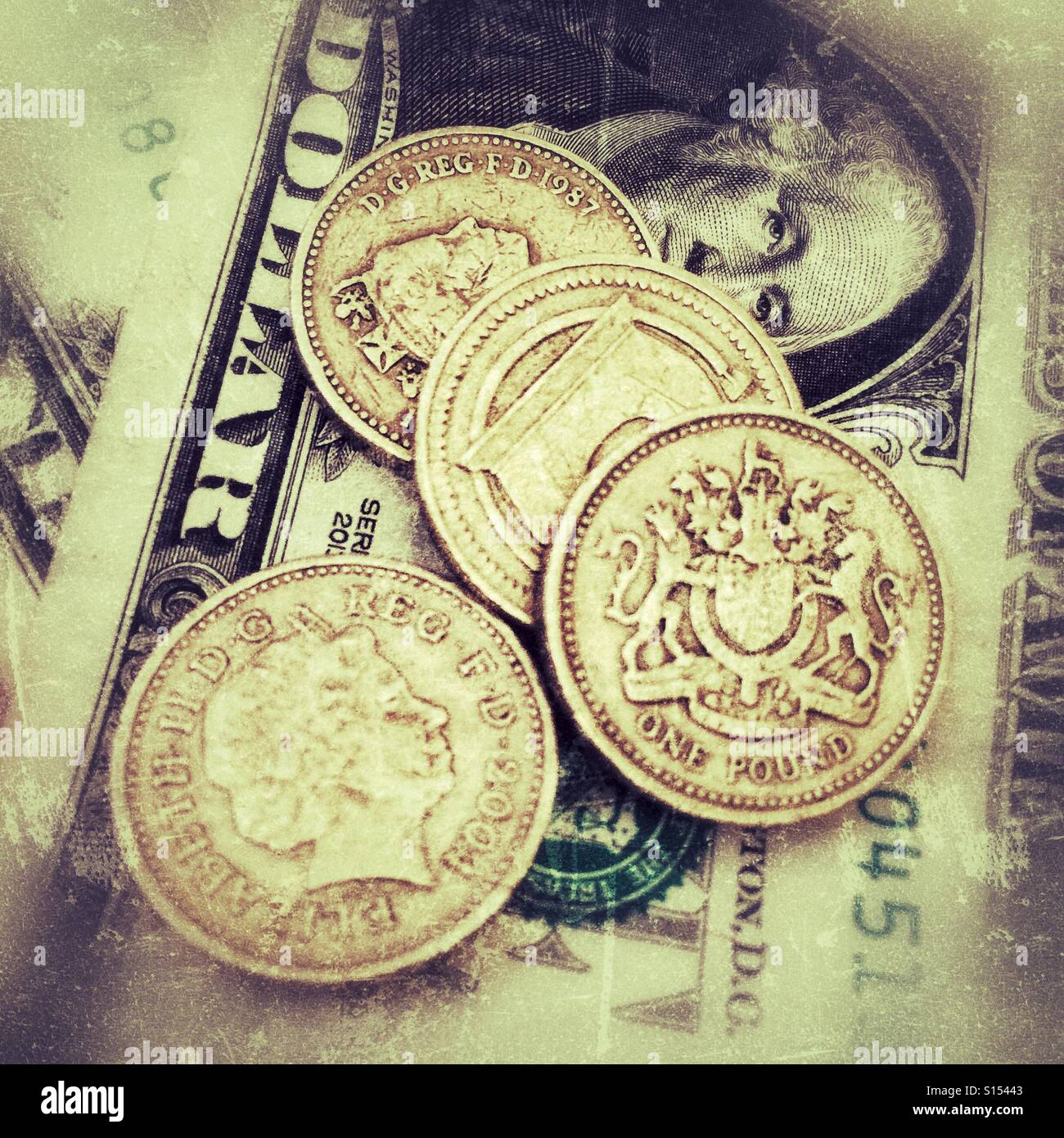 UK Pounds and American Dollars - Stock Image