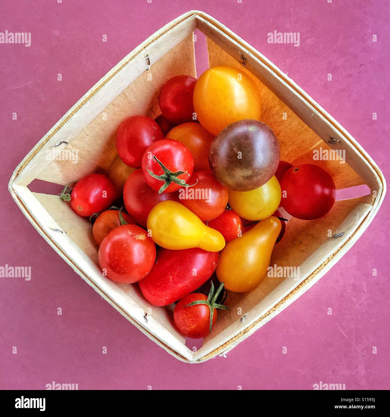 A box is filled with a variety of garden fresh heirloom cherry tomatoes. - Stock Image