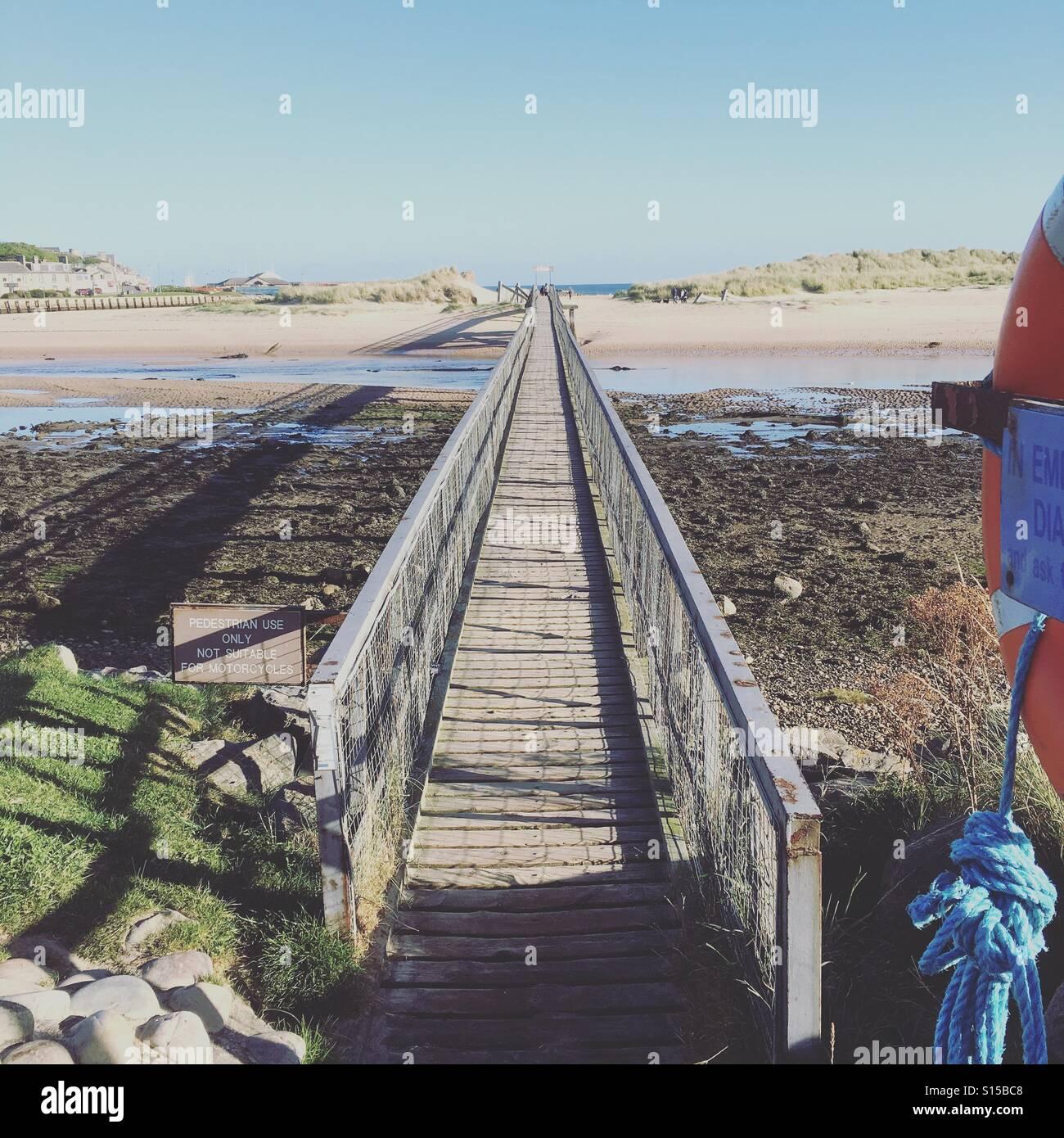 Bridge to the beach, Lossiemouth, Scotland - Stock Image