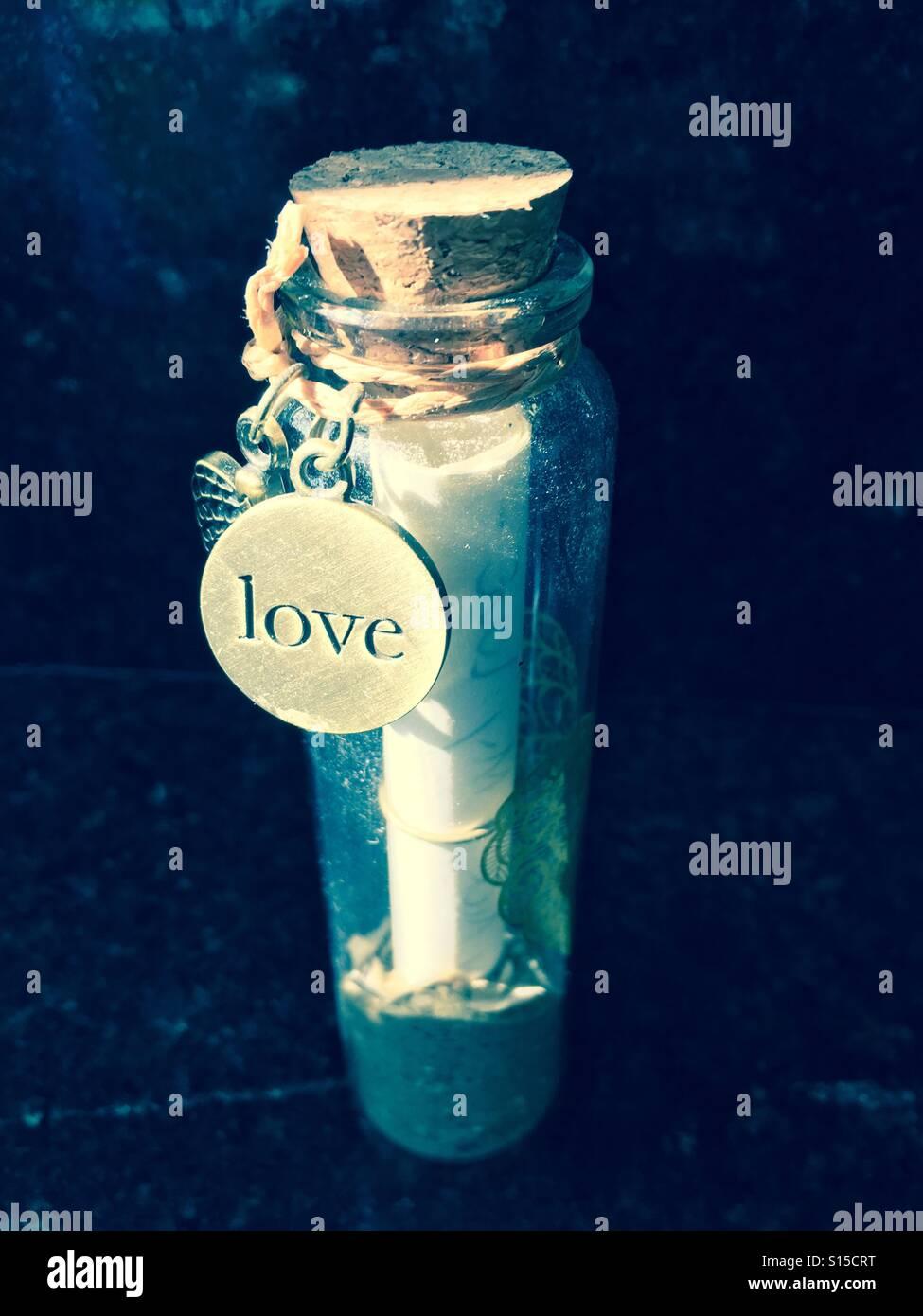 Love Letter in a Bottle - Stock Image