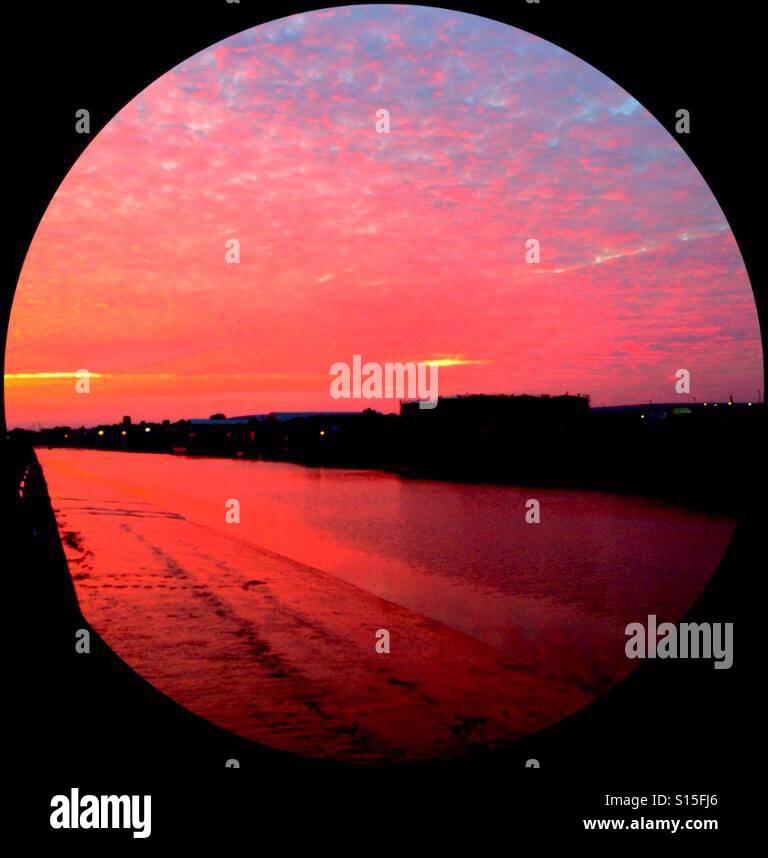 Sun set filter River Adur (Edited) - Stock Image