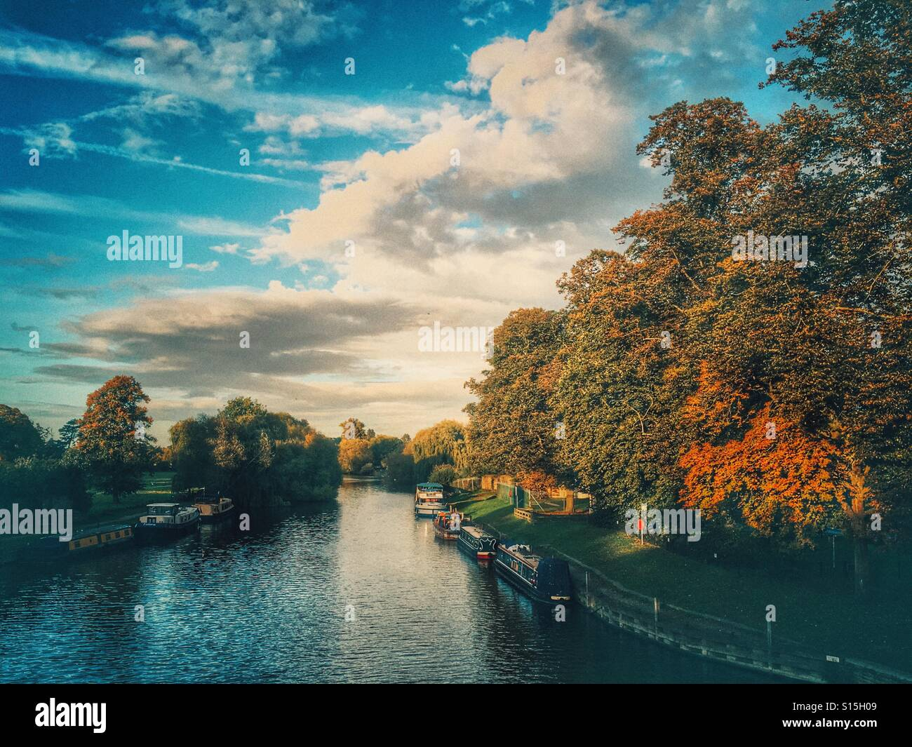 Canal boats on the river Thames, Oxfordshire - Stock Image