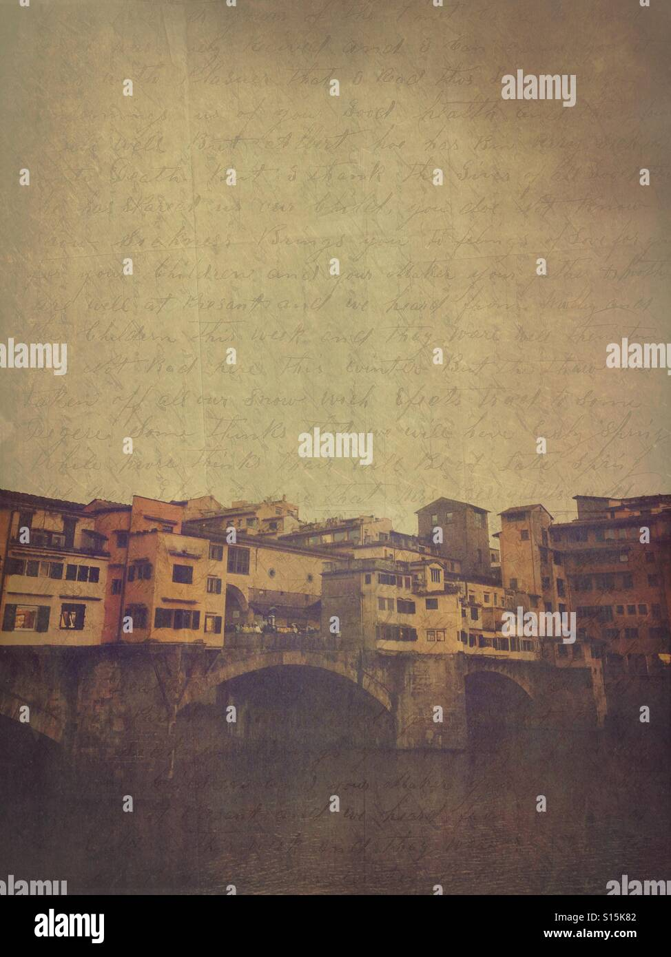 View of Ponte Vecchio bridge in Florence, Italy. Cloudy, overcast day. Vintage handwritten calligraphy paper overlay. Stock Photo