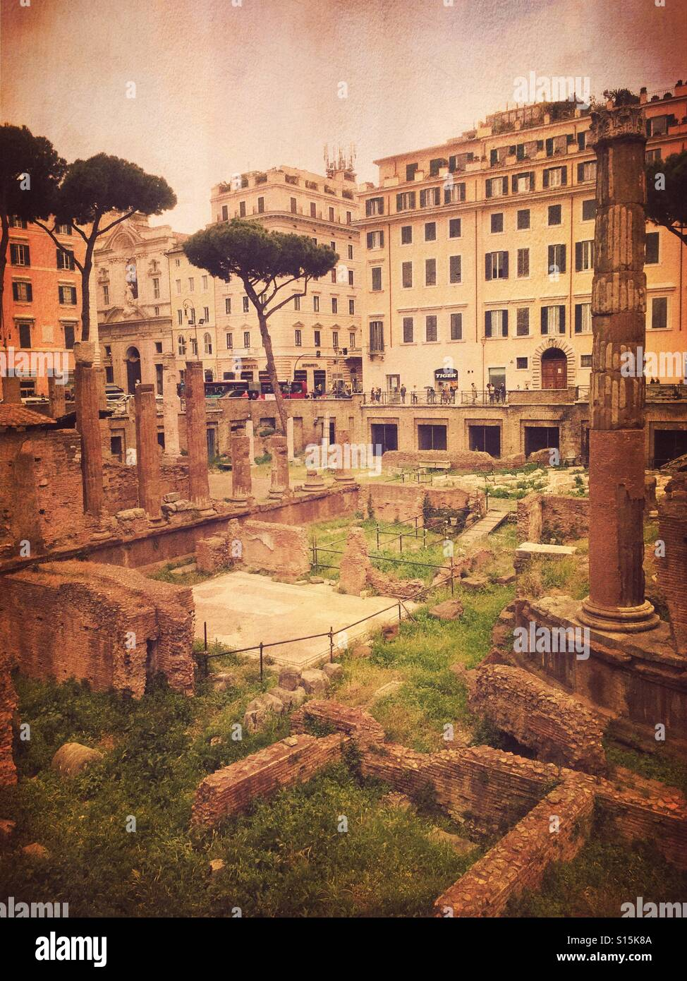 View of Largo di Torre Argentina square within the ancient Campus Martius, where Julius Caesar is believed to have Stock Photo