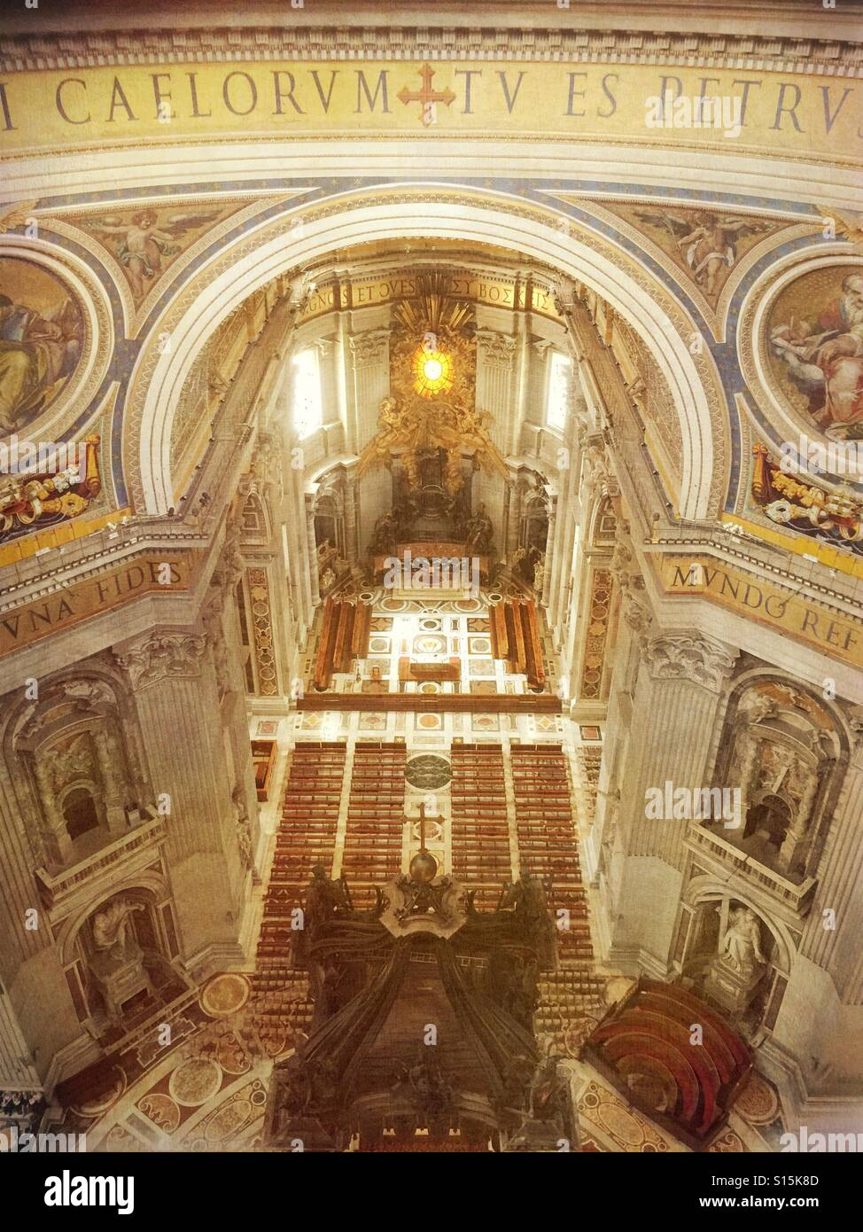 Vatican City - Interior area of St Peter's Basilica as seen from view deck inside cupola.Stock Photo