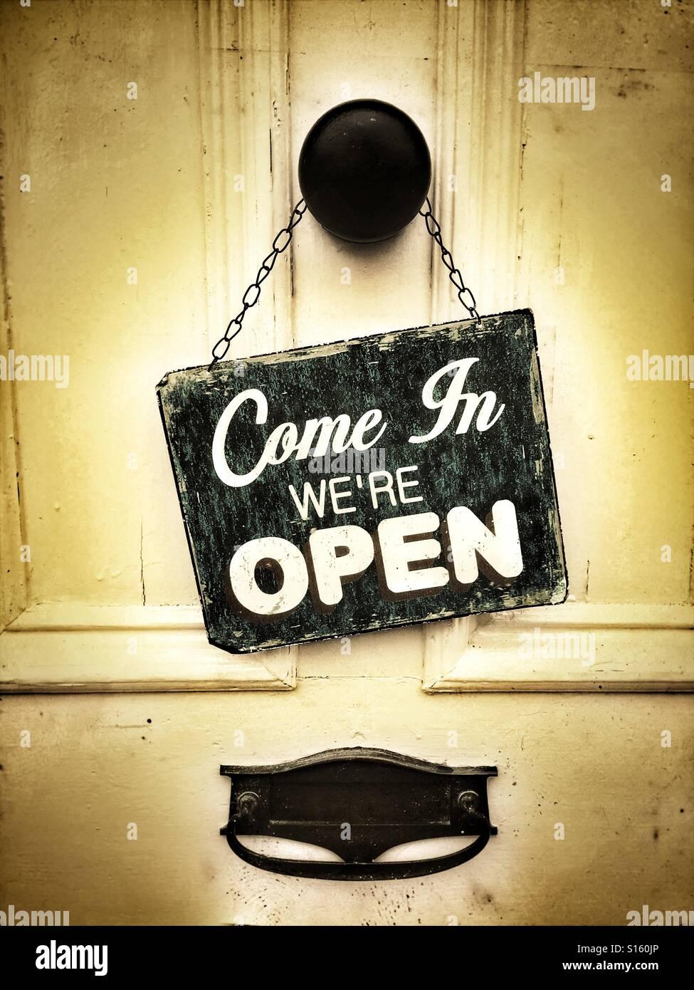 Shop open sign on door Stock Photo