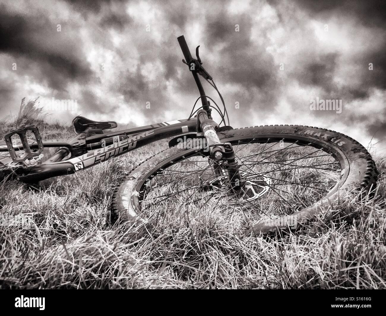 A full suspension mountain bike - Stock Image
