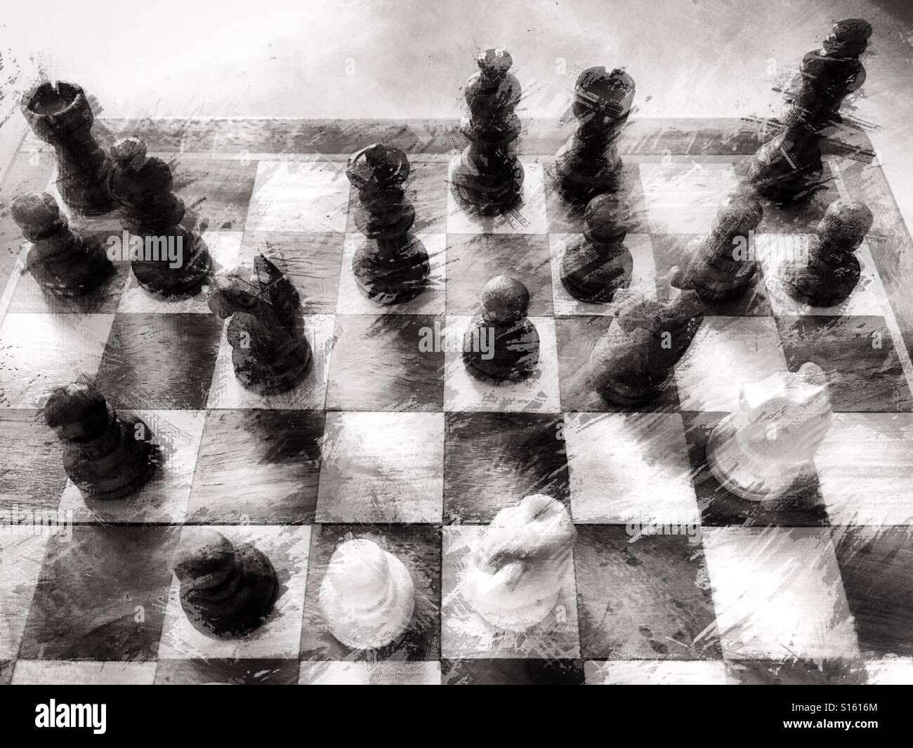 Chess board and pieces - Stock Image