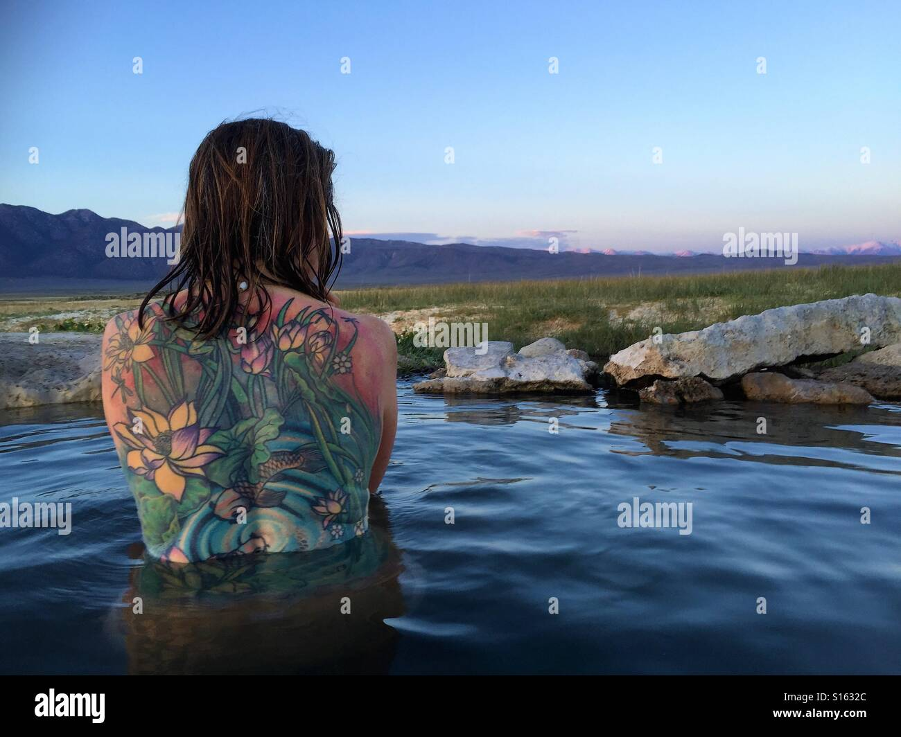 Tattoo hot spring Stock Photo