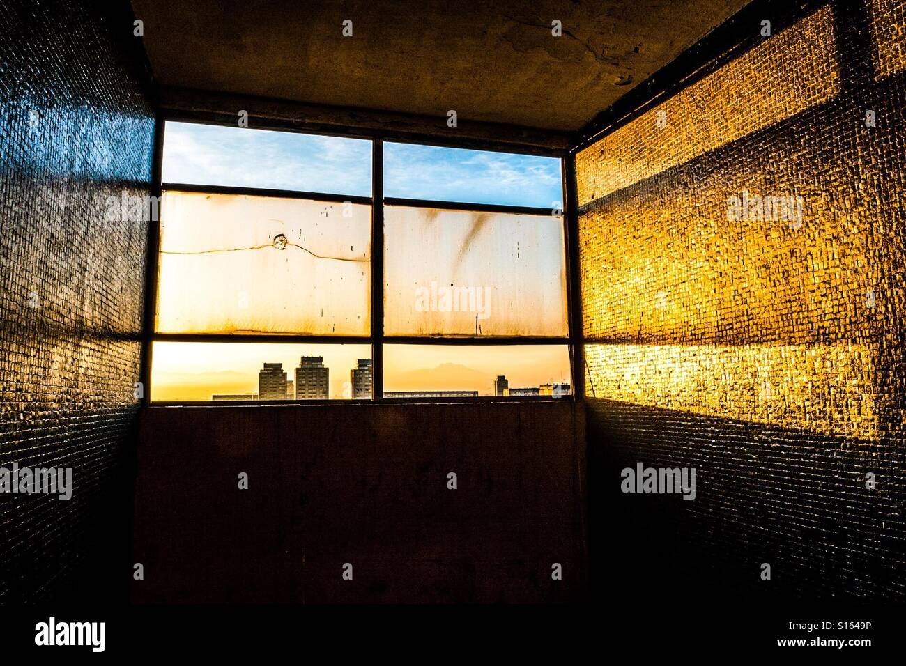 View of sunset from a project building Tlatelolco in México city - Stock Image