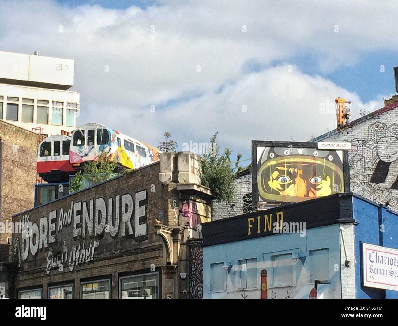 London Underground trains on a roof in East London - Stock Image