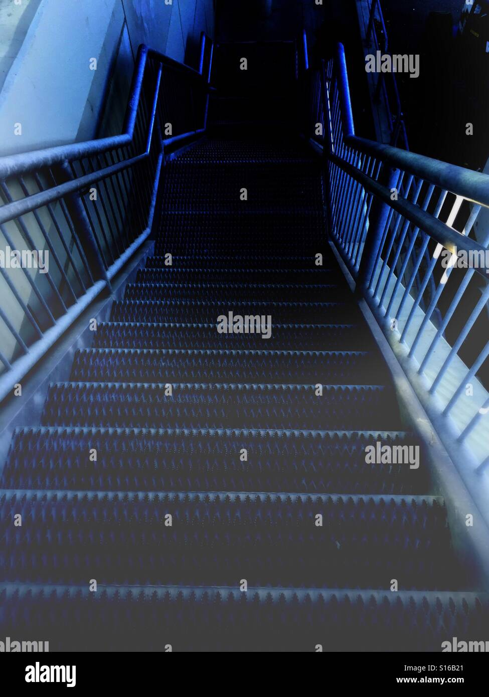 Stairway to darkness - Stock Image