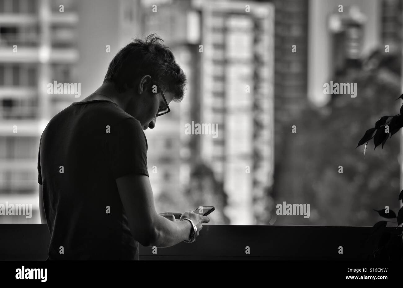 Man on window, searching on the phone - Stock Image