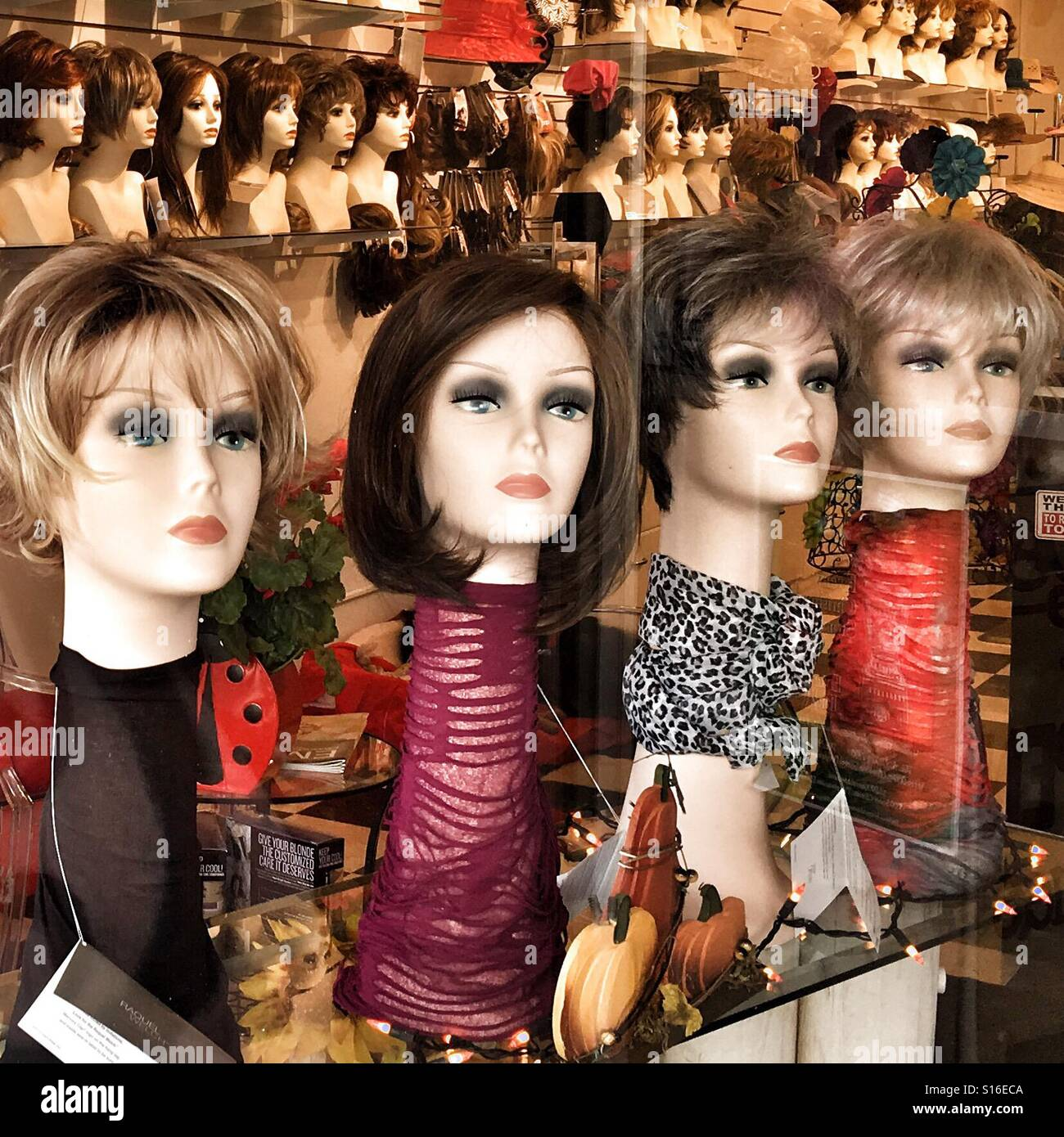 Wigs on Mannequins - Stock Image