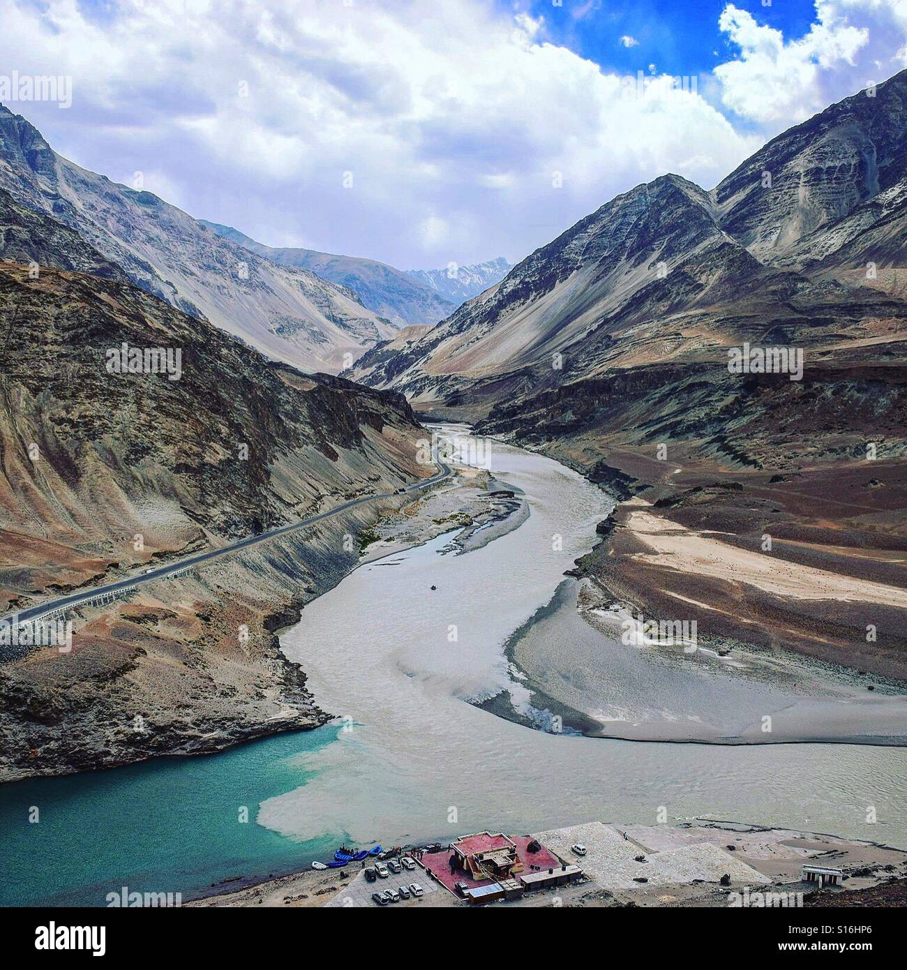 River meandering through the mighty Himalayas - Stock Image