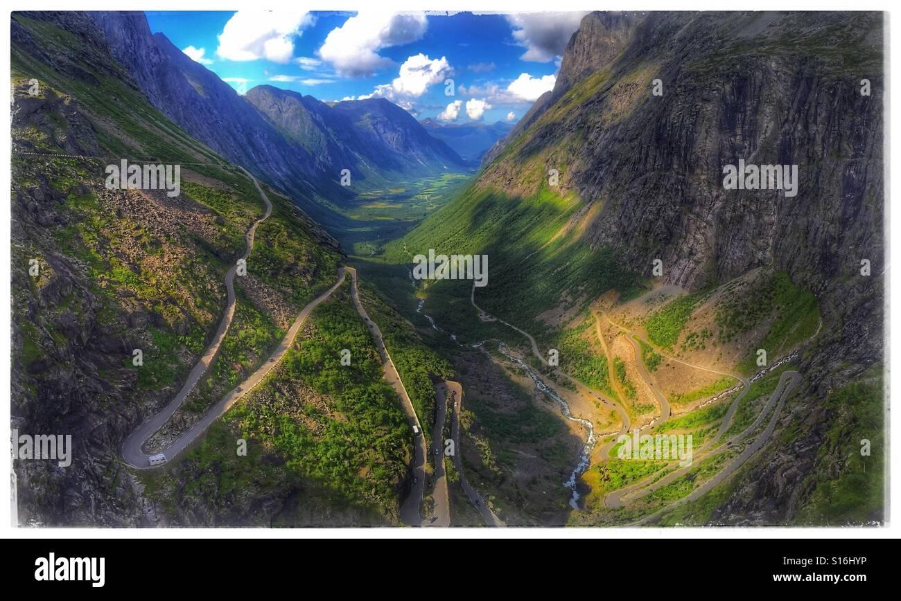 Trollstigen Norwegian road - Stock Image