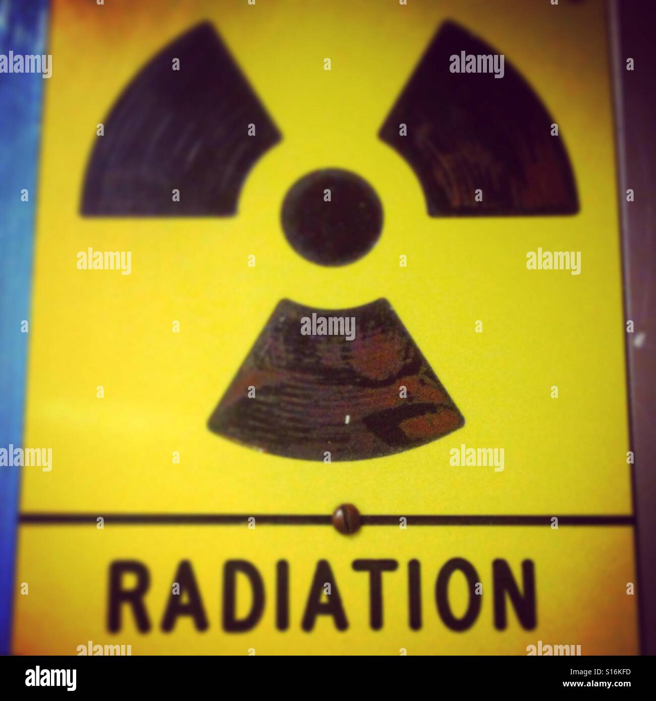 Radiation sign in a hospital - Stock Image