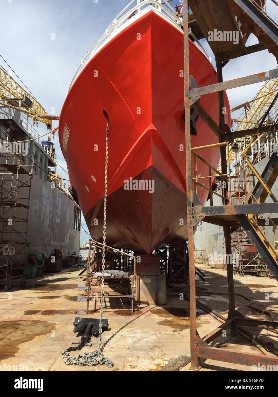 crewboat in drydock - Stock Image