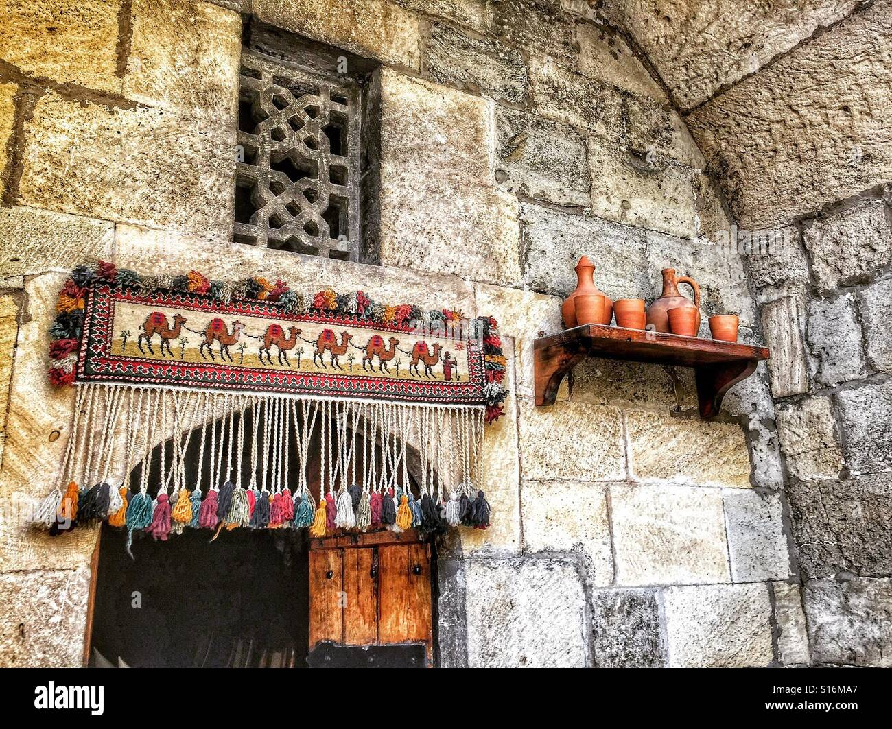 Old town Baku, entrance to cafe - Stock Image