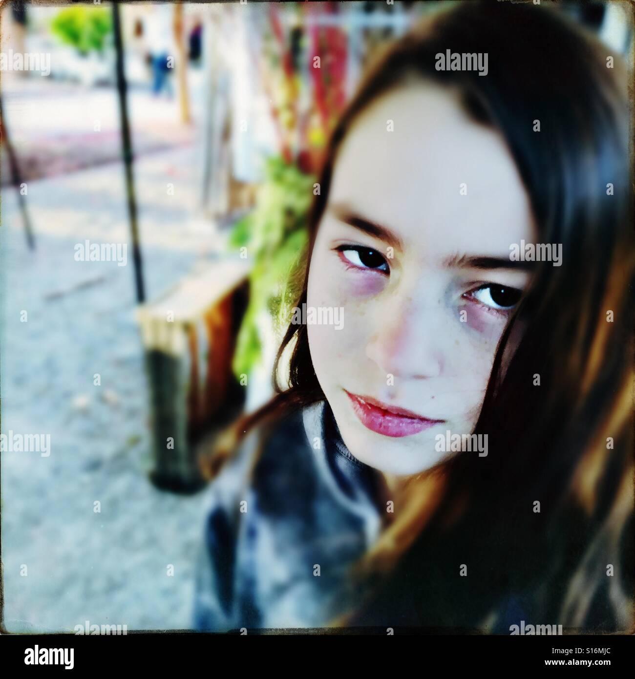 Moody tween girl - Stock Image