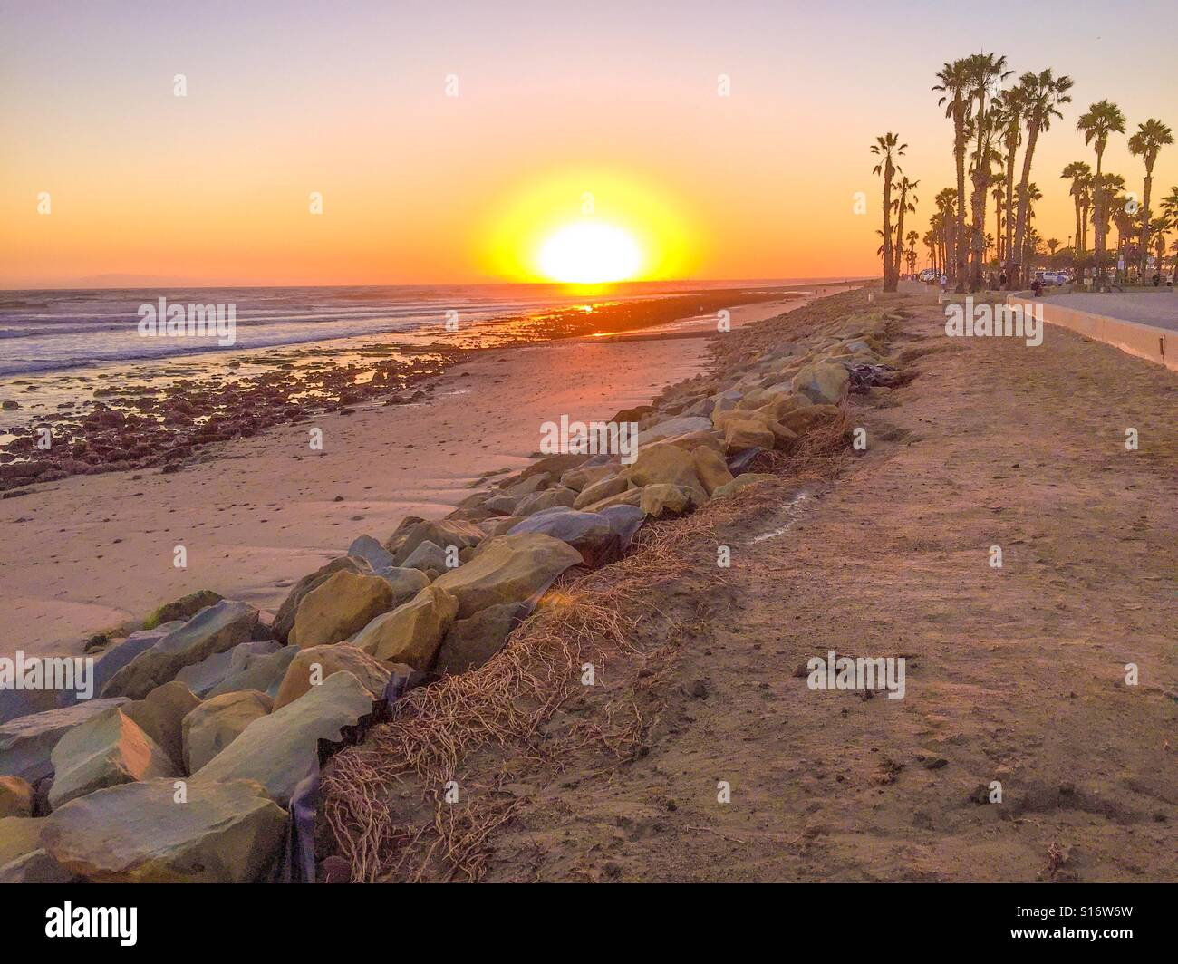 Sunset at the beach in Ventura, California - Stock Image