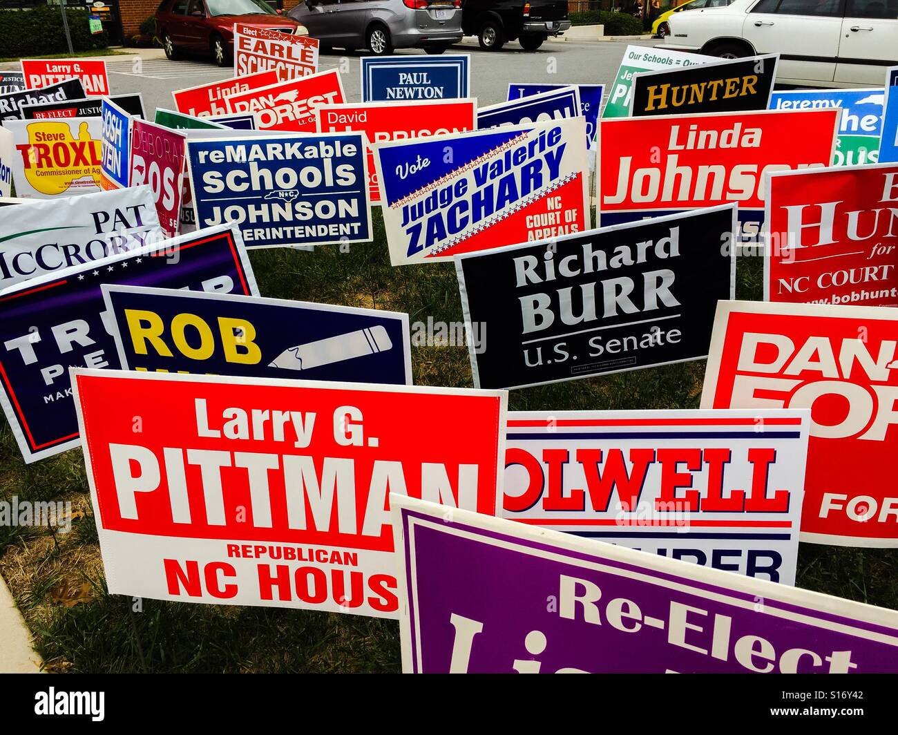 Voters were bombarded by political signs outside an election site in North Carolina. - Stock Image