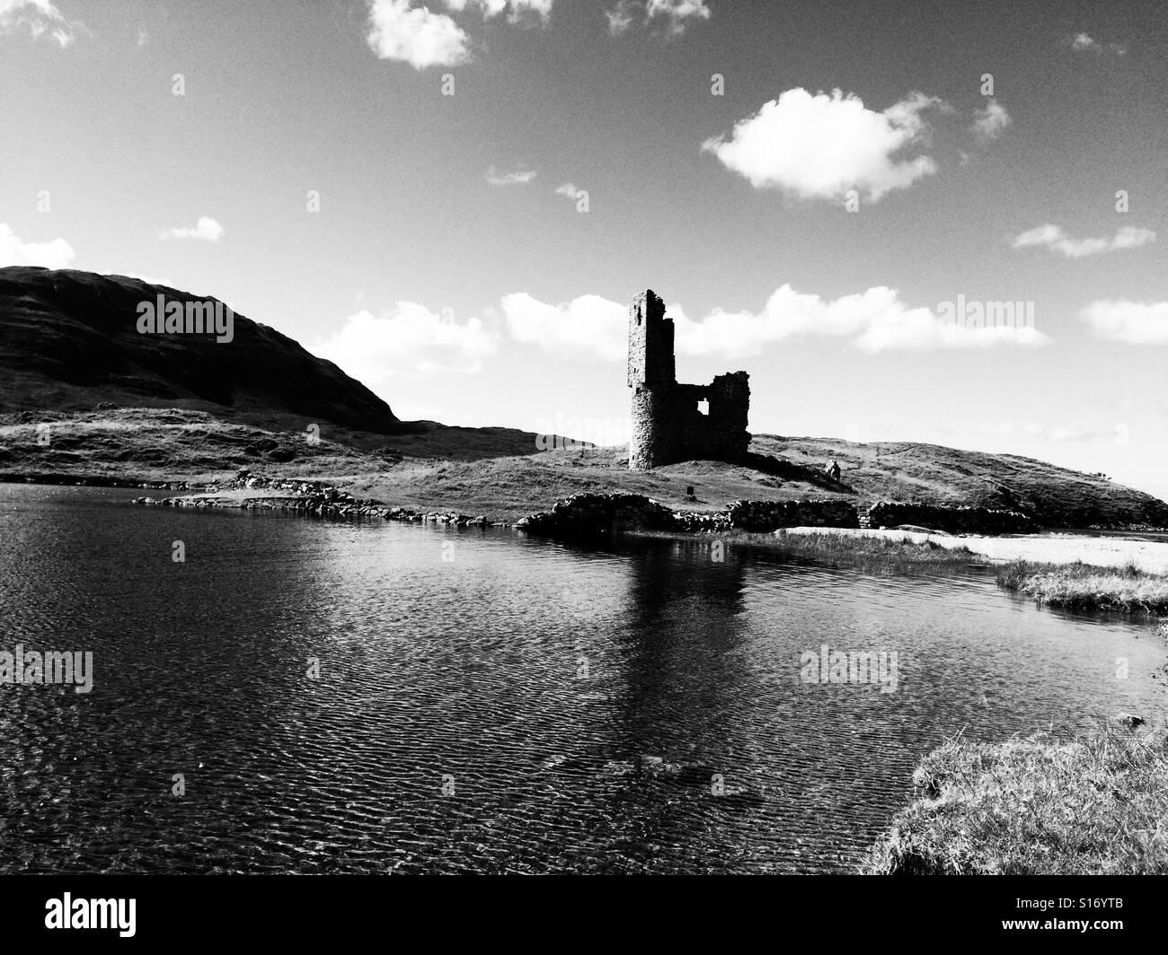 Ruined castle in Scotland - Stock Image