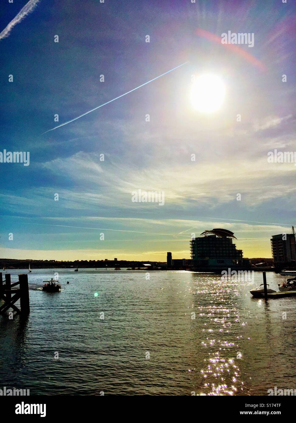 Cardiff Bay in the summer sunshine, looking towards Penarth. - Stock Image