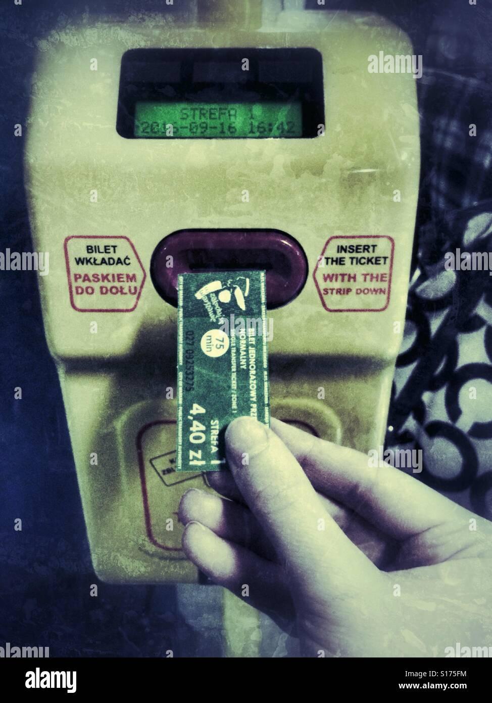 Ticket validation in public transport - Stock Image