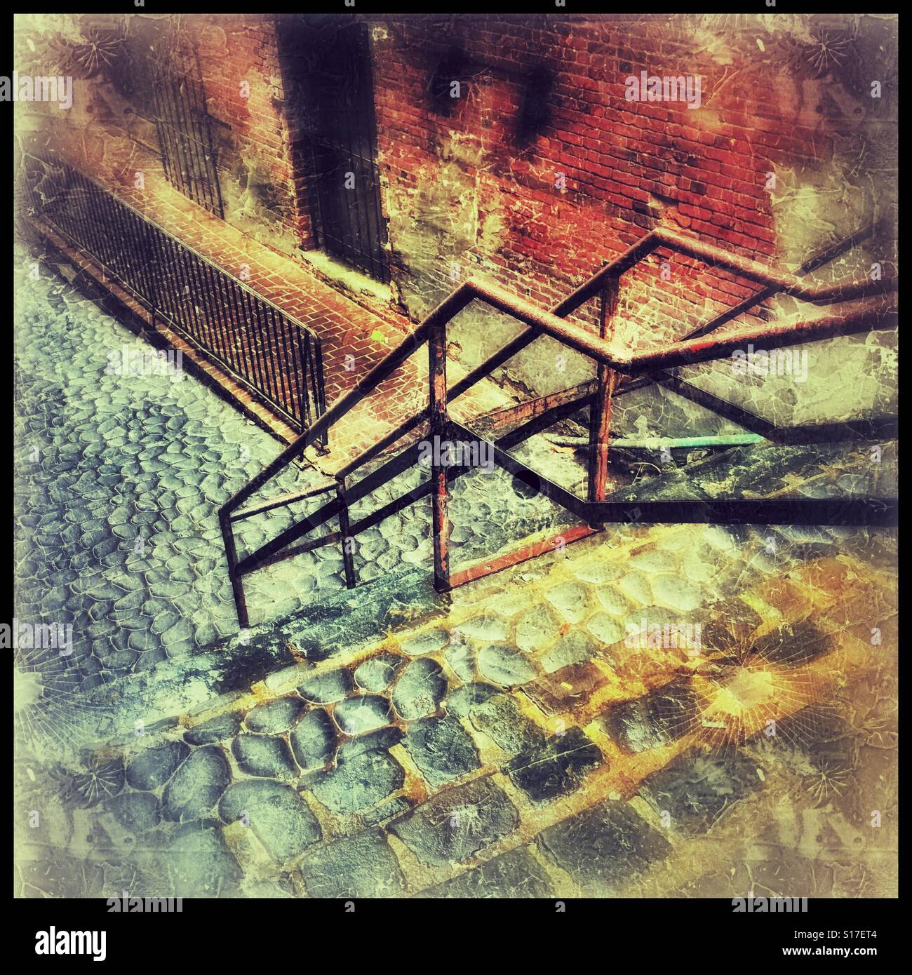 Steps and rails and bricks - Stock Image