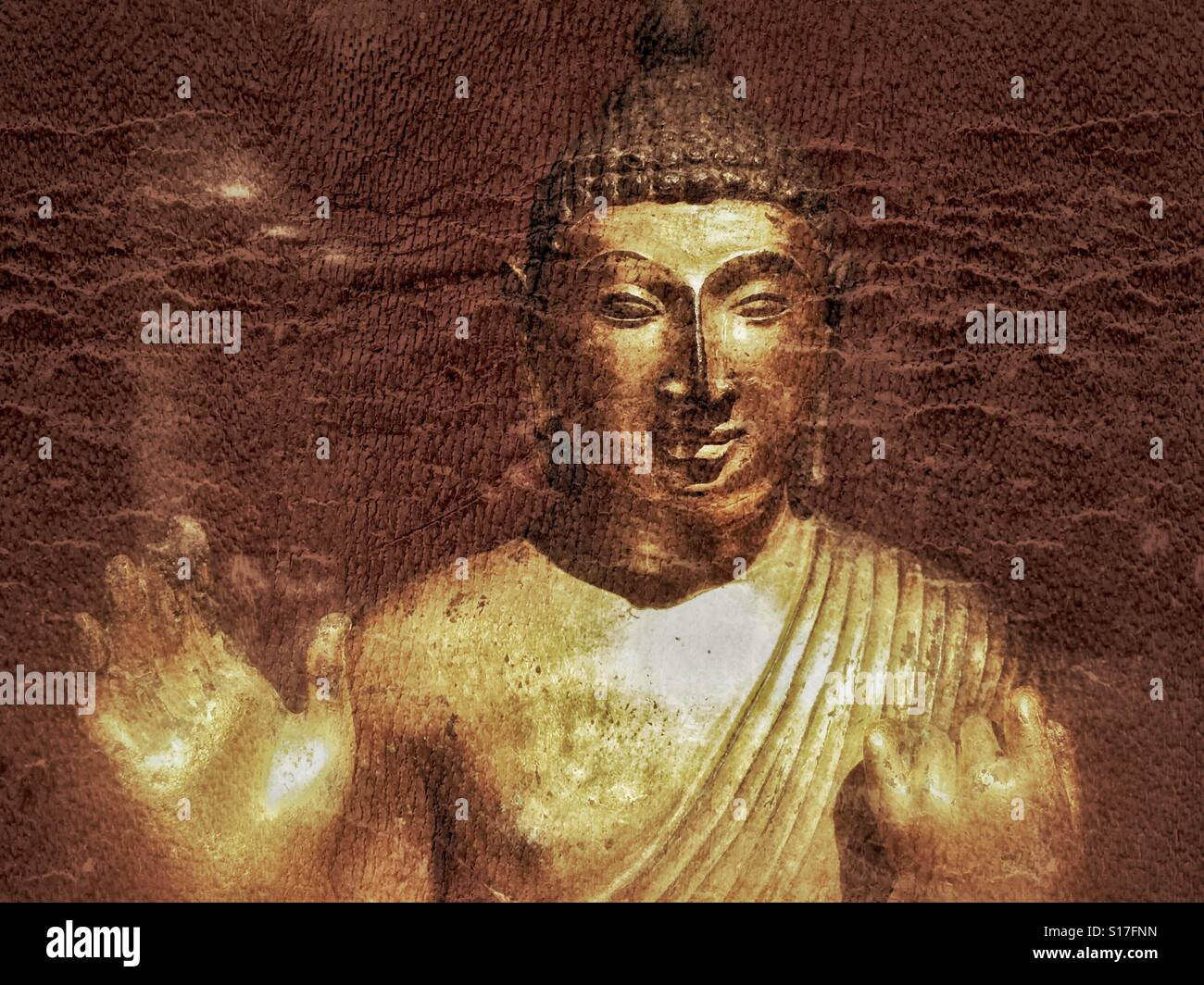 Lord Buddha statue graphic art - Stock Image