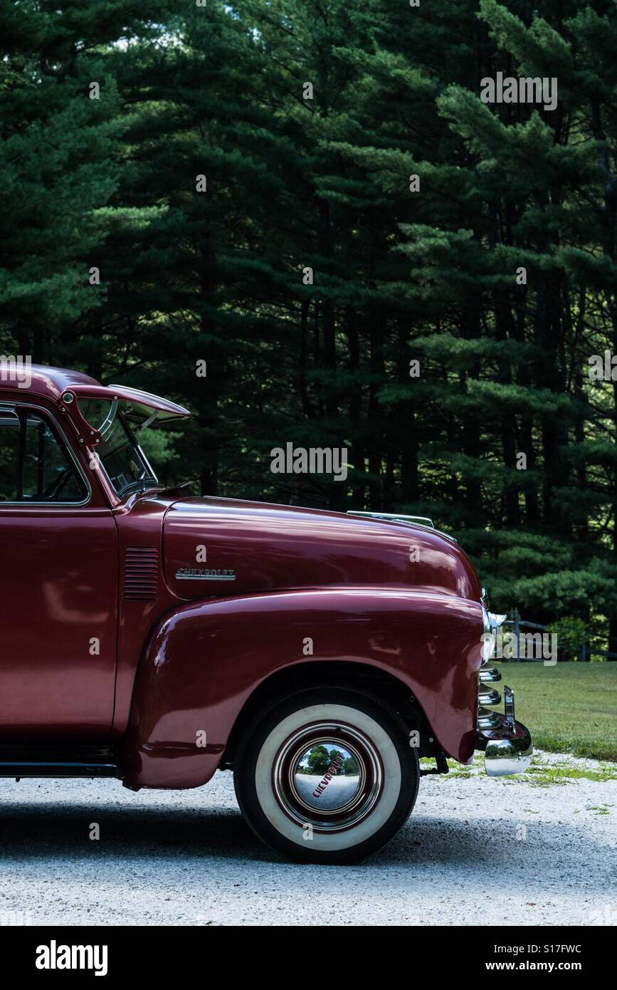 A 1952 Chevrolet 3100 model pickup truck in a country setting ...