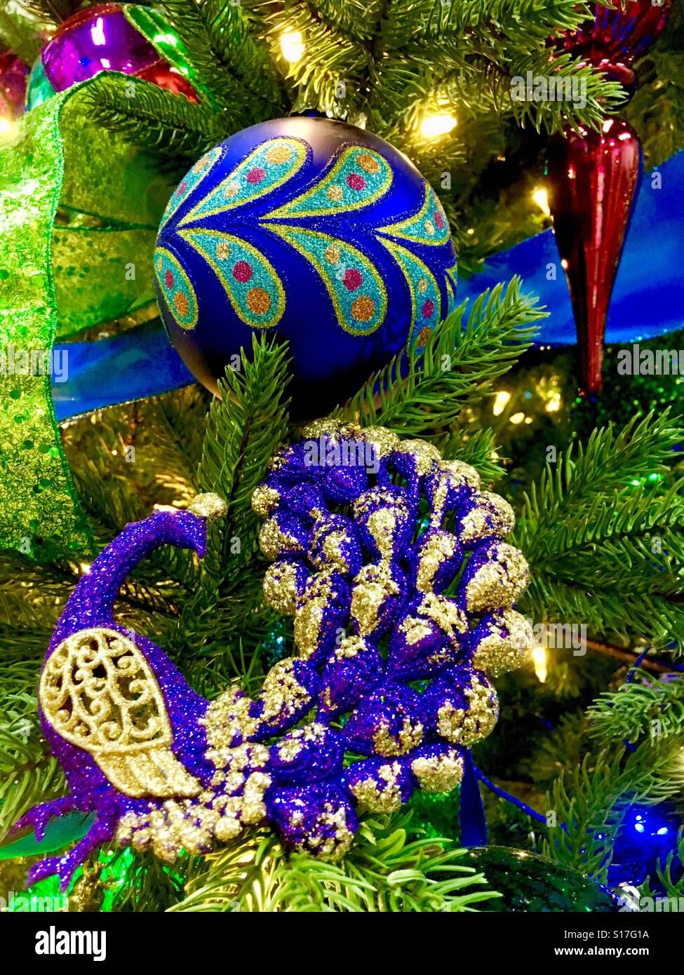 Peacock Christmas Decorations Stock Photo Alamy